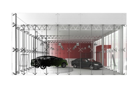 new automobiles: dealer and automobile showroom pavilion. building design, architecture project  Stock Photo