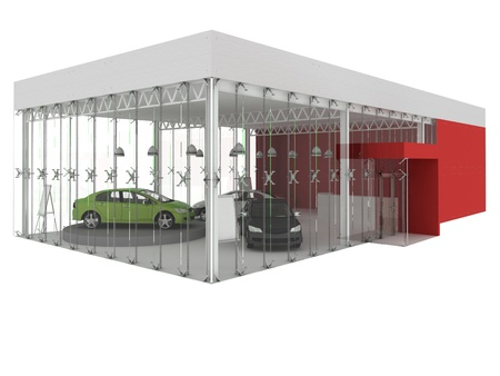 dealer en autoshowroom paviljoen. gebouw, architectuur project