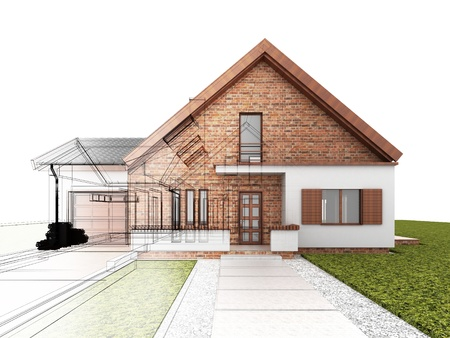 Classic house design progress, architectural drawing and visualization Imagens