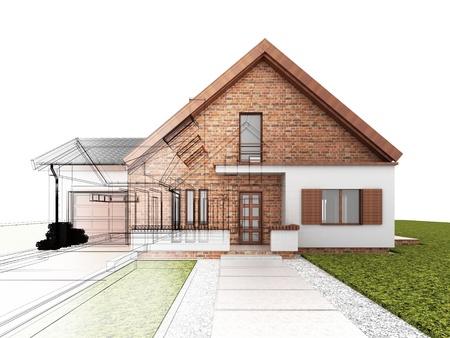 Klassiek huis ontwerp vooruitgang, bouwkundig tekenen en visualisatie Stockfoto - 16153218