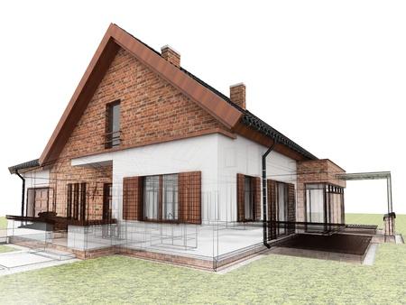 Klassiek huis ontwerp vooruitgang, bouwkundig tekenen en visualisatie Stockfoto - 16153220