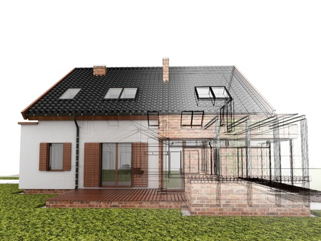 prefabricated: Classic house design progress, architectural drawing and visualization