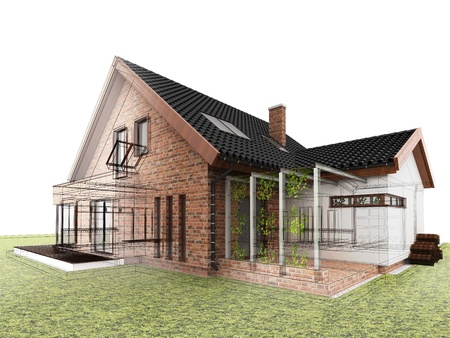 Classic house design progress, architectural drawing and visualization