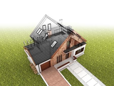 Klassiek huis ontwerp vooruitgang, bouwkundig tekenen en visualisatie Stockfoto - 16153227