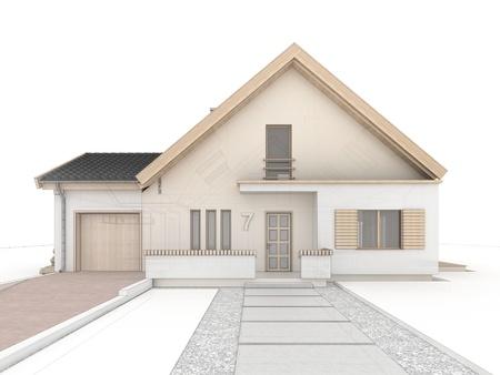 computer generated house design progress illustration