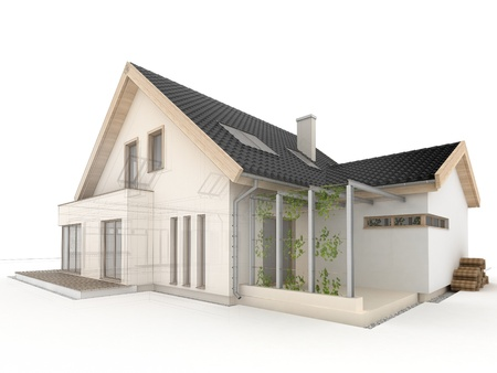 luxury home exterior: computer generated house design progress illustration