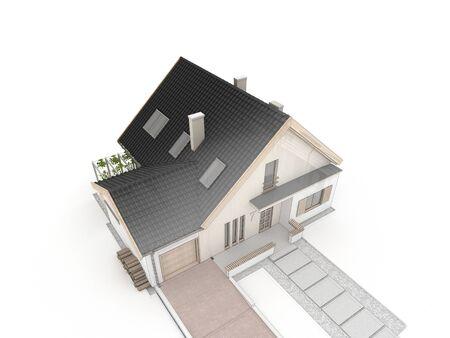 prefabricated: computer generated house design progress illustration