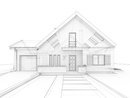house blueprint: computer generated, transparent house design visualization in drawing style