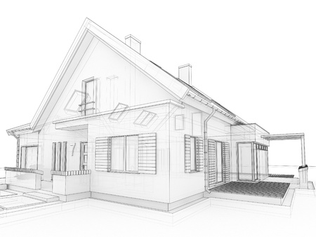 modern house exterior: computer generated, transparent house design visualization in drawing style