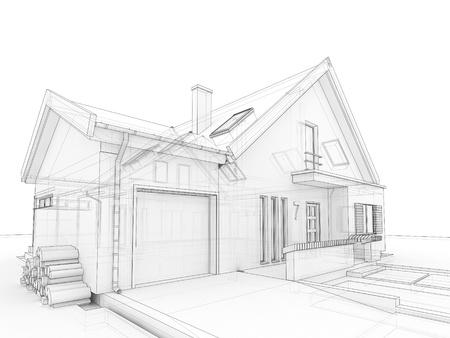 Computer gegenereerde, transparante huis ontwerp visualisatie bij het opstellen stijl Stockfoto - 16153194