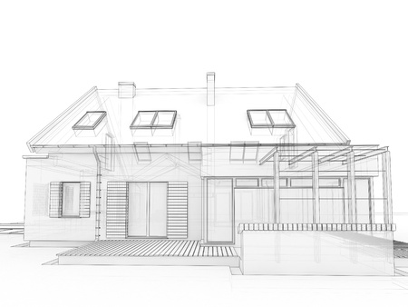 prefabricated: computer generated, transparent house design visualization in drawing style