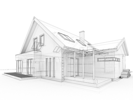 classic house: computer generated, transparent house design visualization in drawing style