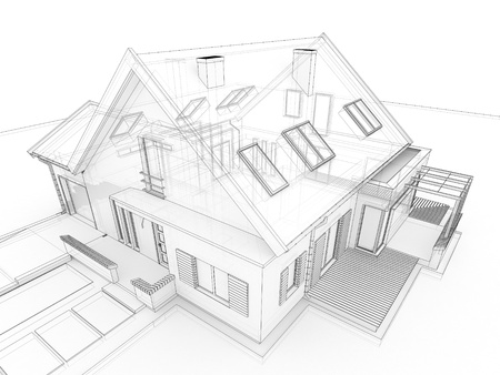 mansion: computer generated, transparent house design visualization in drawing style