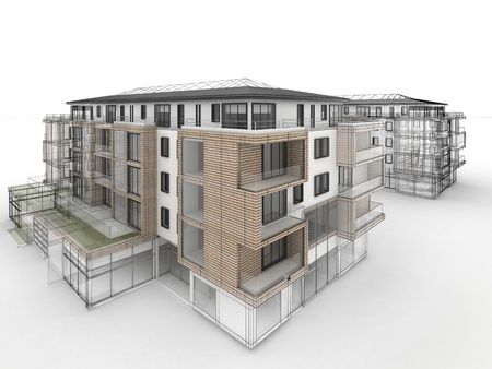 wooden facade: apartment building design progress, architecture visualization in mixed drawing and photo realistic style  Stock Photo