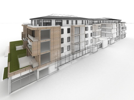 apartment building design progress, architecture visualization in mixed drawing and photo realistic style  Standard-Bild