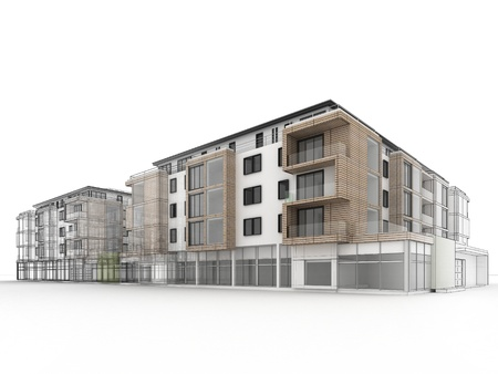 woonwijk: appartementencomplex ontwerp vooruitgang, architectuur visualisatie in gemengde tekening en foto realistische stijl Stockfoto