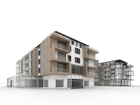 apartment building design progress, architecture visualization in mixed drawing and photo realistic style  Stockfoto