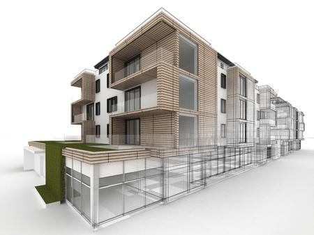 Appartementencomplex ontwerp vooruitgang, architectuur visualisatie in gemengde tekening en foto realistische stijl Stockfoto - 16153202