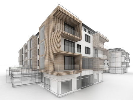 Appartementencomplex ontwerp vooruitgang, architectuur visualisatie in gemengde tekening en foto realistische stijl Stockfoto - 16153201