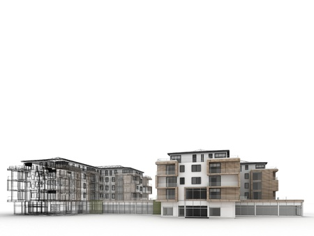 apartment building design progress, architecture visualization in mixed drawing and photo realistic style  Stock Photo