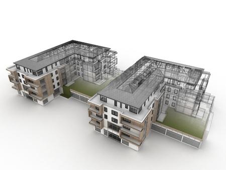 Appartementencomplex ontwerp vooruitgang, architectuur visualisatie in gemengde tekening en foto realistische stijl Stockfoto - 16153204