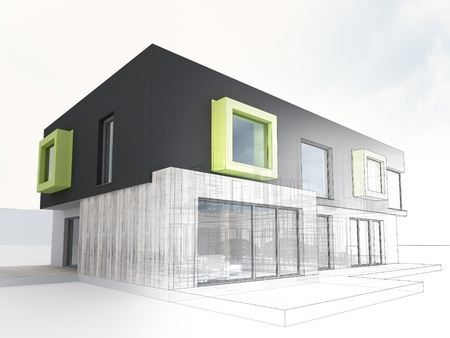 prefabricated: computer generated visualization of contemporary box house project - architects and designers work Stock Photo