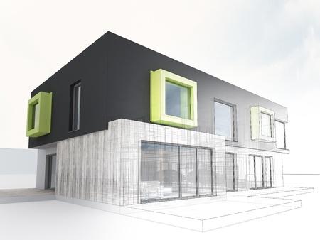 prefabricated buildings: visualizaci�n generada por ordenador de casa contempor�nea proyecto box - arquitectos y dise�adores trabajan