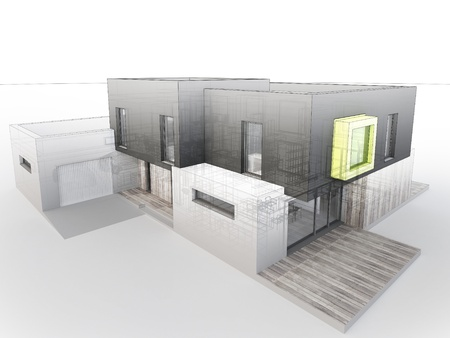 computer generated visualization of contemporary box house project - architects and designers work Stock Photo