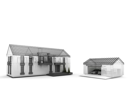 prefabricated: computer generated visualization of classic residential house  Project during work, with visible wire frame of construction lines
