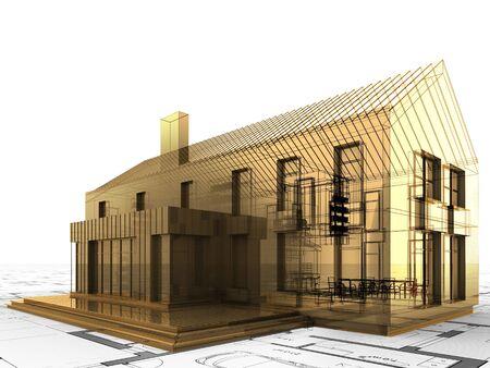 precious house design concept. Gold building, valuable architecture