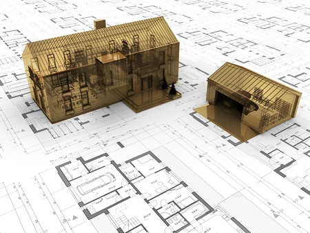 precious house design concept. Gold building, valuable architecture  photo
