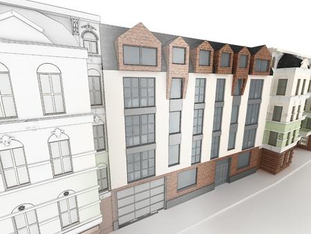 Ontwerp van het moderne appartementencomplex tussen de oude, historische huurkazernes Stockfoto - 17774688