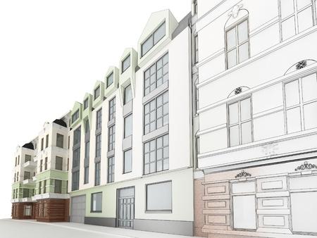 Ontwerp van de moderne appartementencomplex tussen de oude, historische huurkazernes Stockfoto - 17774682