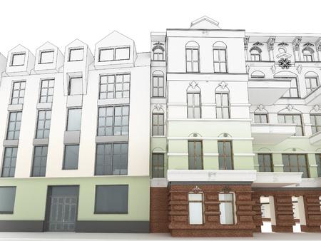Ontwerp van het moderne appartementencomplex tussen oude, historische huurkazernes Stockfoto - 17774687
