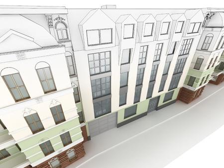 Ontwerp van de moderne appartementencomplex tussen de oude, historische huurkazernes Stockfoto - 17774685