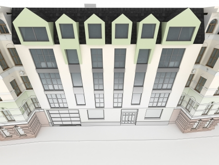 Design of modern apartment house between old, historical tenements