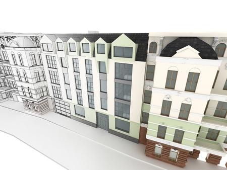Ontwerp van het moderne appartementencomplex tussen de oude, historische huurkazernes Stockfoto - 17774680