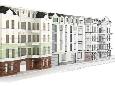 Ontwerp van het moderne appartementencomplex tussen oude, historische huurkazernes Stockfoto - 17774681