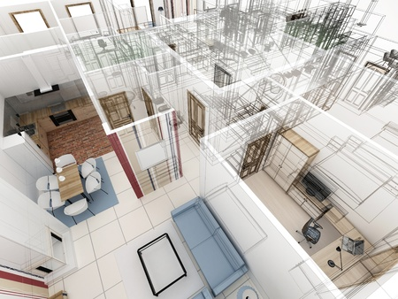 Appartements haut niveau vue - processus de design d'int�rieur. photo