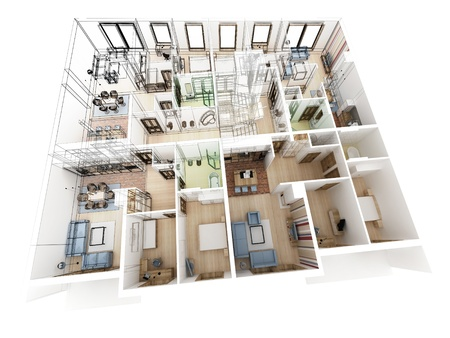 visualization: Apartments level top view - Interior design process.