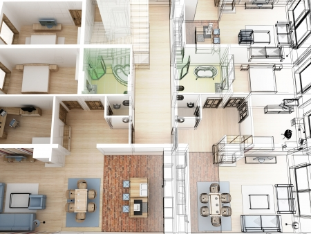 Apartments level top view - Interior design process.