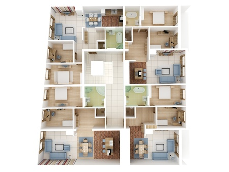 Apartments level top view - Interior design process. photo