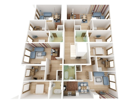 Apartments level top view - Inter design process. Stock Photo - 17774675
