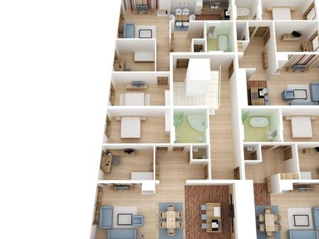 Apartments level top view - Interior design process. photo