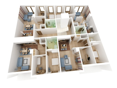Apartments level top view - Interior design process.