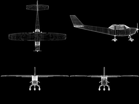 black line: Computer generated visualization of private light aircraft. Modern airplane design in low key lighting and black background.