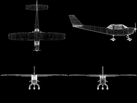 modelos negras: Generado por ordenador visualizaci�n de avioneta privada. Dise�o Moderno avi�n en condiciones de poca iluminaci�n de las teclas y el fondo negro. Foto de archivo