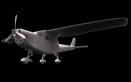 Computer gegenereerde visualisatie van private lichte vliegtuigen. Moderne vliegtuig ontwerp in low key verlichting en een zwarte achtergrond. Stockfoto - 33144249