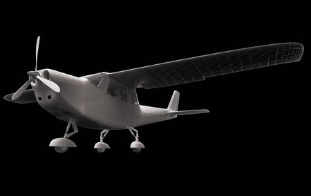 low key lighting: Computer generated visualization of private light aircraft. Modern airplane design in low key lighting and black background.