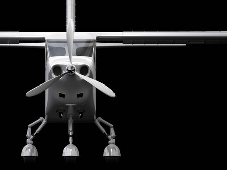 Computer generated visualization of private light aircraft. Modern airplane design in low key lighting and black background.